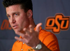 Photo - Mike Gundy will do the rounds at ESPN's Bristol, Conn., campus. Photo by By John Clanton, The Oklahoman