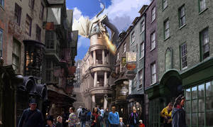 Photo - This artist rendering released by Universal Orlando shows the new Harry Potter area called Diagon Alley, opening at Universal Orlando Resort this summer.  Details of Diagon Alley were released in a media webcast on Thursday, Jan. 23. (AP Photo/Universal Orlando)