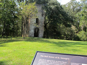 Photo -   The ruins of a church bell tower dating to 1751 stands at the Colonial Dorchester State Historic Site in Summerville, S.C., Friday, Oct. 5, 2012. A new tourism campaign by the state South Carolina Department of Parks, Recreation and Tourism is aimed at drawing visitors to such sites that tourism officials call undiscovered South Carolina. (AP Photo/Bruce Smith)
