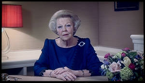 photo - Image taken of a TV screen showing Dutch Queen Beatrix announcing she will abdicate April 30, 2014, during a speech prerecorded in The Hague, Netherlands, Monday Jan. 28, 2013. Beatrix, who turns 75 on Thursday, has ruled the nation of 16 million for more than 32 years and would be succeeded by her eldest son, Crown Prince Willem-Alexander. (AP Photo/NOS Television/Peter Dejong)
