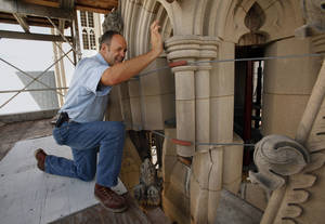 photo - Joe Alonso, pictured outside Washington National Cathedral on Sept. 18, says that when he was first assessing the damage after the 2011 earthquake he was afraid to touch parts of the building for fear it might fall down.