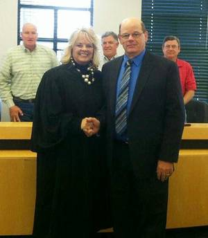 photo - Special Judge Alicia Littlefield and newly-elected Sheriff Harlan Moore attended the Delaware County Commissioner's meeting on Monday.  PHOTO PROVIDED