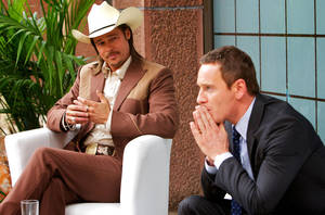 "Photo - Brad Pitt and Michael Fassbender star in ""The Counselor."" <strong>Kerry Brown</strong>"