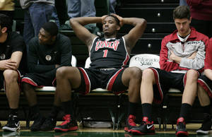 photo -   UNLV forward Quintrell Thomas (1) reacts in the final seconds of the team's 66-59 loss to Colorado State in an NCAA college basketball game in Fort Collins, Colo., Wednesday, Feb. 29, 2012. (AP Photo/Jack Dempsey)