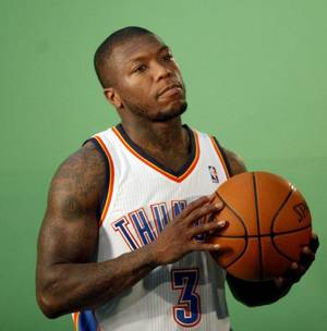 photo - Oklahoma City's Nate Robinson films video segments at the the Thunder practice facility, Saturday, Feb, 26, 2011, in Oklahoma City. Photo by Sarah Phipps, The Oklahoman <strong>SARAH PHIPPS</strong>