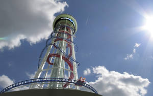 Photo - This artist rendering provided by Mango's Tropical Cafe shows the 570 foot tall Skyscraper roller coaster expected to open in 2016 in Orlando, Fla. The Skyscraper coaster owned by Mango's Tropical Cafe in Orlando and Miami's South Beach, will be part of a 495,000 square foot Skyplex indoor entertainment complex. (AP Photo/Mango's Tropical Cafe)
