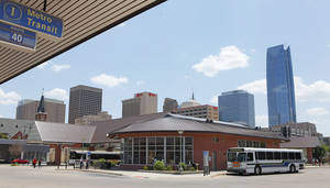 Photo - The Oklahoma City Council is considering several options to expand Sunday bus service. The Metro Transit downtown station, shown Friday, is the city's transit hub. Photo by David McDaniel, The Oklahoman