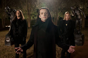 "Photo - Christopher Heyerdahl, left, Michael Sheen, center, and Jamie Campbell Bower are in a scene from ""The Twilight Saga: Breaking Dawn Part 2."" AP PHOTO"