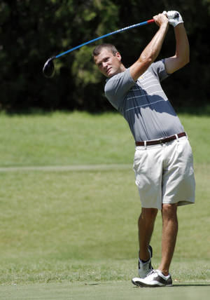 Photo - Nathan Hughes in the finals of the state amateur golf tournament on Wednesday, July 24, 2013. Photo by Aliki Dyer/ The Oklahoman