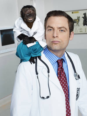 Photo - Crystal, left, as Dr. Zaius, Justin Kirk as Dr. George Coleman NBC Photo <strong>NBC</strong>