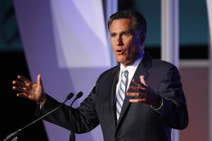 Photo -   Republican presidential candidate and former Massachusetts Gov. Mitt Romney addresses the U.S. Hispanic Chamber of Commerce in Los Angeles, Monday, Sept. 17, 2012. (AP Photo/David McNew)