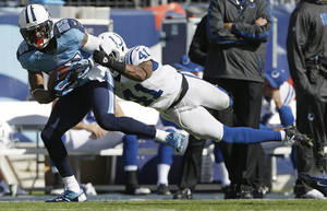 Photo -   Tennessee Titans wide receiver Nate Washington (85) makes the catch as Indianapolis Colts free safety Antoine Bethea (41) hangs on during the second half of an NFL football game Sunday, Oct. 28, 2012, in Nashville, Tenn. (AP Photo/Mark Humphrey)