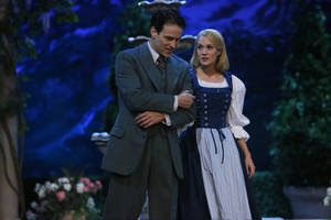 "Photo - This photo provided by NBC shows Stephen Moyer, left, as Captain Von Trapp and Carrie Underwood as Maria, in ""The Sound of Music Live!"" airing Thursday, December 5, 2013, on NBC (8-11 p.m. ET). (AP Photo/NBC, Will Hart)"