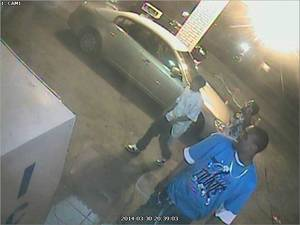 Photo -  Police released surveillance photos of three men wanted in connection with the fatal shooting Sunday of a pregnant woman in northeast Oklahoma City.   <strong></strong>