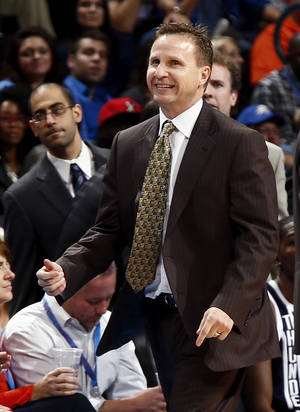 Photo - Oklahoma City head coach Scott Brooks during an NBA basketball game between the Detroit Pistons and the Oklahoma City Thunder at the Chesapeake Energy Arena in Oklahoma City, Friday, Nov. 9, 2012. Oklahoma City won, 105-94. Photo by Nate Billings, The Oklahoman