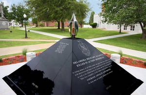 Photo - The Oklahoma Military Academy Killed in Action Memorial will be unveiled at a dedication Saturday  at Rogers State University. Photo provided