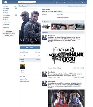 "photo - This screen shot provided by the Russian social network Vkontakte shows a page set up by Hollywood star Tom Cruise. Tom Cruise has become the first Hollywood star to set up a page on the Russian social network Vkontakte. The ""Top Gun"" actor's page appeared Friday, announced by a message on Twitter saying ""See you there!"" in Russian. His profile picture is a poster for his new film ""Oblivion,"" which comes out in Russia on April 11, two weeks before it opens in the U.S. (AP Photo/Vkontakte)"