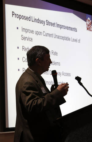 Photo -  Duane Kranz, project leader with Leidos, speaks Thursday during a public information event on the W Lindsay Street widening project in Norman. Photo by Steve Sisney, The Oklahoman  <strong>STEVE SISNEY -  THE OKLAHOMAN </strong>