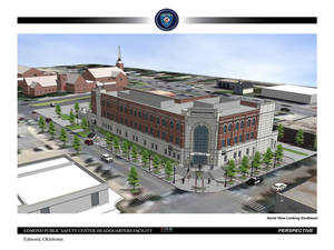 Photo - Architectural drawing of Edmond's new public safety building being constructed at First Street and Littler Avenue. DRAWING PROVIDED <strong>PROVIDED</strong>