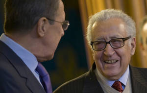 photo - Russian Foreign Minister Sergey Lavrov, left, and U.N. envoy for Syria Lakhdar Brahimi meet in Moscow, Russia, on Saturday, Dec. 29, 2012. (AP Photo/Ivan Sekretarev)