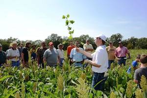 Photo -  Heath Herje of the OSU Cooperative Extension in Cleveland County discusses wildlife food plots at last year's workshop in Slaughterville. This year's food plot demonstration is Saturday. Photo provided  <strong> 					</strong>