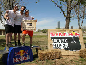 "Photo - Team ""Pup n' Suds""from Oklahoma State University won the 2013 Red Bull Land Rush challenge and tickets to Lollapalooza 2013. Team members Michael Custer, Trent Renshaw and Jacob Stivers raced along the Oklahoma River trails in a four-mile course. PHOTO PROVIDED"