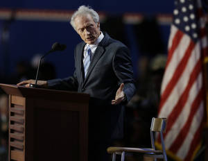 Photo -   Actor Clint Eastwood speaks to an empty chair while addressing delegates during the Republican National Convention in Tampa, Fla., on Thursday, Aug. 30, 2012. (AP Photo/Lynne Sladky)