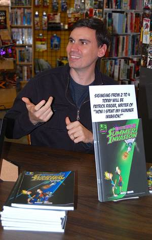 "Photo - Patrick Rieger discusses his graphic novel, ""How I Spent My Summer Invasion.""   Photo by Annette Price, for The Oklahoman. <strong></strong>"