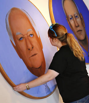 Photo -      Kendall Brown, executive director, Individual Artists of Oklahoma, with paintings of three Oklahoma City mayors painted by Richard McKown. An exhibit is planned on Film Row in honor of the 20th anniversary of MAPS and its impact on the city. Photo by Jim Beckel, The Oklahoman  <strong>Jim Beckel -   </strong>