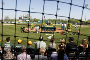 Photo - Photo from Mickey Sullivan's memorial service at Baylor. PHOTO COURTESY BAYLOR SPORTS INFORMATION <strong>Matthew Minard</strong>