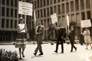 Photo -   This black-and-white photo, taken in 1965, provided by Lilli Vincenz, shows Vincenz, left, picketing at the Civil Service Commission in Washington. President Barack Obama's declaration that he supports gay marriage may have lacked the urgency of Kennedy's push for the Civil Rights Act, or the force and finality of the Emancipation Proclamation, but in places key to the history of gay rights, it's being greeted as a major milestone. (AP Photo)