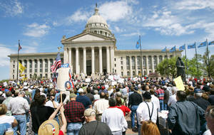 Photo - Protesters gather at the state Capitol to protest government spending Wednesday. PHOTO BY STEVE GOOCH, THE OKLAHOMAN