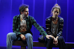"Photo - This theater image released by O&M Co. shows Josh Hamilton, left, and Jenna Fischer in a scene from Neil LaBute's new play, ""Reasons to Be Happy"", currently performing off-Broadway at the Lucille Lortel Theatre in New York.  (AP Photo/O&M Co., Joan Marcus)"