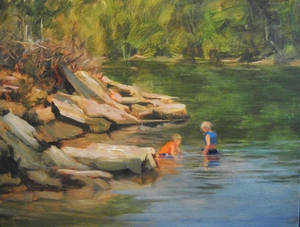 "Photo - ""Playing in the Flint Creek,"" an oil by Margaret  Aycock. Photo provided"