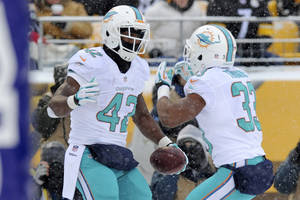 Photo - Miami Dolphins tight end Charles Clay (42) celebrates with Miami Dolphins running back Daniel Thomas (33) after a touchdown during the first half of an NFL football game against the Pittsburgh Steelers in Pittsburgh, Sunday, Dec. 8, 2013. (AP Photo/Don Wright)