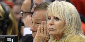 Photo - Los Angeles Clippers owner Donald Sterling, left, and his wife Rochelle look on during the second half in Game 3 of an NBA basketball playoffs Western Conference semifinal against the San Antonio Spurs, Saturday, May 19, 2012, in Los Angeles. The Spurs won 96-86 for a 3-0 series lead. (AP Photo/Mark J. Terrill)