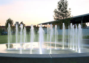 Photo - The Guthrie Green fountains are among new attractions in Tulsa's Brady District. PHOTO PROVIDED BY SAXUM