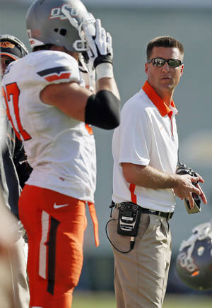 photo - OSU head coach Mike Gundy during a college football game between the Oklahoma State University Cowboys (OSU) and the Baylor University Bears at Floyd Casey Stadium in Waco, Texas, Saturday, Dec. 1, 2012. Photo by Nate Billings, The Oklahoman