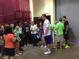 Photo - Clippers star Blake Griffin hosted some of the families impacted by the Moore tornadoes at the Lloyd Noble Center in Norman on Thursday, May 30. PHOTO BY JASON KERSEY, THE OKLAHOMAN KOD