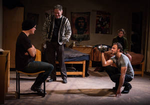 "Photo - This undated theater image released by DARR Publicity shows, from left,  Nick Lawson, Michael Cullen, James Kautz and Anna Stromberg, in a scene from ""Collision"" performing off-Broadway at the Rattlestick Playwrights Theater in New York. (AP photo/DARR Publicity, Russ Rowland)"