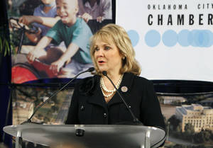 photo - Gov. Mary Fallin speaks Thursday to the Greater Oklahoma City Chamber during a breakfast at Oklahoma Christian University in Oklahoma City. Photo By Paul Hellstern, The Oklahoman