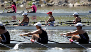 photo - Teams compete in the Womens' Open 3 4x during the USRowing Masters National Championships on the Oklahoma River, Sunday, Aug. 14, 2011. Photo by Sarah Phipps, The Oklahoman