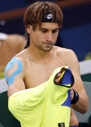 Photo - David Ferrer of Spain changes his shirt during the second round match against Lukas Rosol of Czech Republic, at the Paris Masters tennis at Bercy Arena in Paris, France, Wednesday, Oct. 30, 2013. (AP Photo/Francois Mori)
