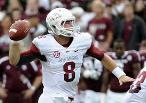 Photo -   Arkansas quarterback Tyler Wilson prepares to pass during the first half of an NCAA college football game against the Texas A&M Saturday, Sept. 29, 2012, in College Station, Texas. (AP Photo/Pat Sullivan)