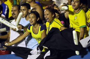 photo -   Brazil's fans cheer during a friendly soccer match against Argentina in Goiania, Brazil, Wednesday, Sept. 19, 2012. (AP Photo/Victor R. Caivano)