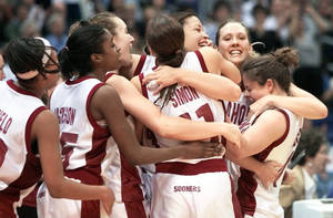 photo - The 2002 Sooners celebrate their Final Four victory over Duke. Photo by Doug Hoke,  The Oklahoman Archive