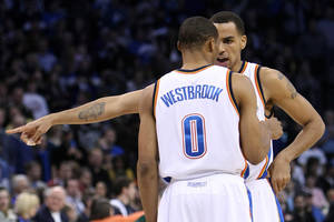 photo - Oklahoma City guards Russell Westbrook and Thabo Sefolosha are part of the Thunder's solution to keeping Denver's point guards at bay. THE OKLAHOMAN ARCHIVE