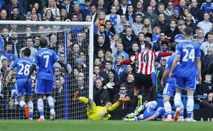 Photo - Sunderland's Connor Wickham, no. 10, celebrates scoring against Chelsea during their English Premier League soccer match at the Stamford Bridge ground in London, Saturday April 19, 2014. (AP Photo/Lefteris Pitarakis)