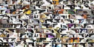 Photo - Some of the loaded firearms discovered in carry-on baggage at U.S. airports in 2013. <strong> - TSA</strong>