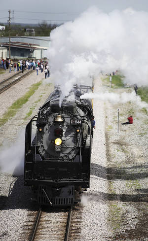 Photo - Union Pacific Railroad's steam locomotive leaves Muskogee on Thursday.
